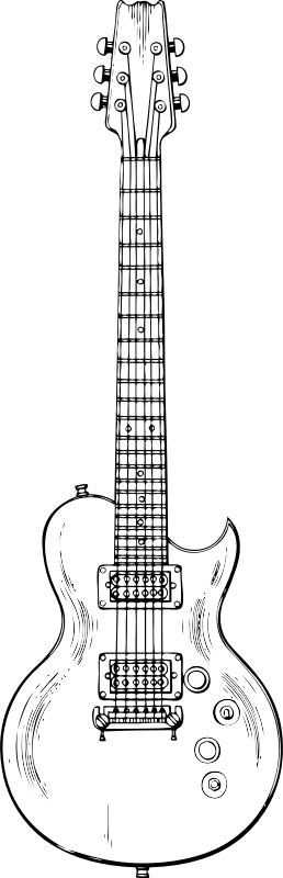 electric guitar by johnny_automatic - a drawing of an electric guitar from a US patent office drawing
