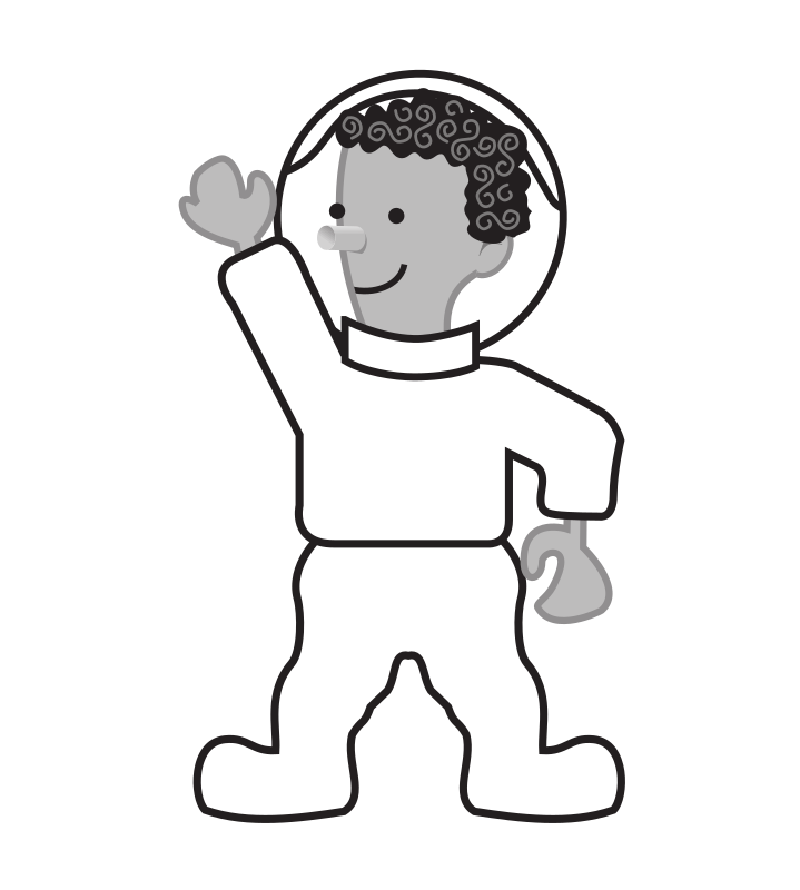 "Kid standing by rejon - This is clipart converted and broken apart that has been released into the public domain because the document says so, and its from NASA, a USA government agency. The publication is called ""The Brain in Space:""