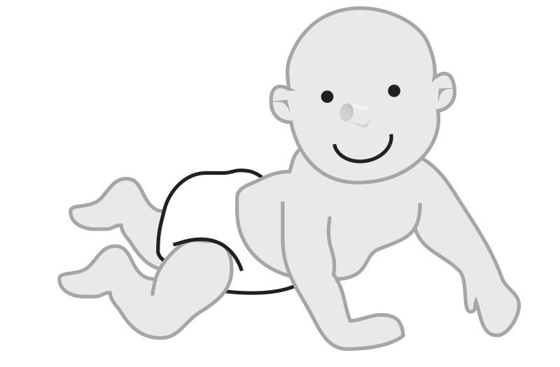 "baby crawling by rejon - This is clipart converted and broken apart that has been released into the public domain because the document says so, and its from NASA, a USA government agency. The publication is called ""The Brain in Space:""