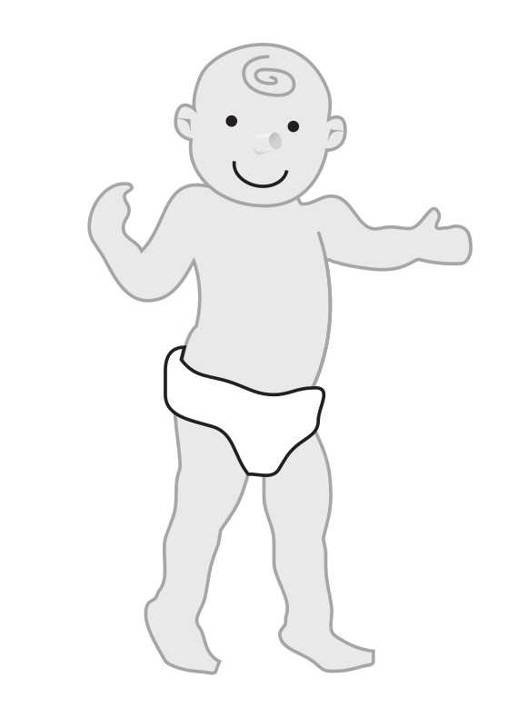 "baby standing by rejon - This is clipart converted and broken apart that has been released into the public domain because the document says so, and its from NASA, a USA government agency. The publication is called ""The Brain in Space:""