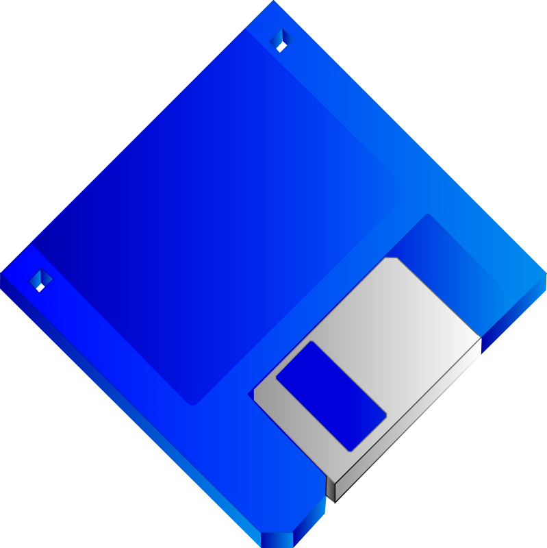 "3.5 Floppy Disk Blue No label by Sabathius - Blue 3.5"" Floppy Disk without label."