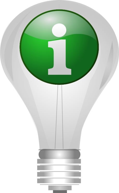 "info_lightbulb by Selanit - A lightbulb with a green ""info"" icon superimposed on it. Suitable for use as a ""tip"" or ""info"" or ""idea"" icon."