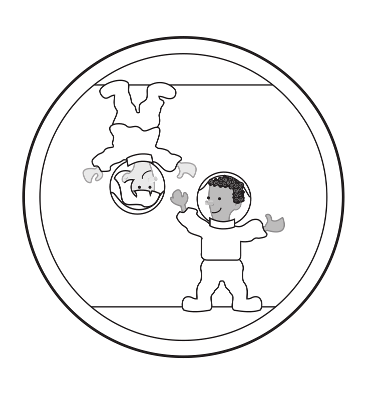 "Free floating kids in space by rejon - This is clipart converted and broken apart that has been released into the public domain because the document says so, and its from NASA, a USA government agency. The publication is called ""The Brain in Space:""