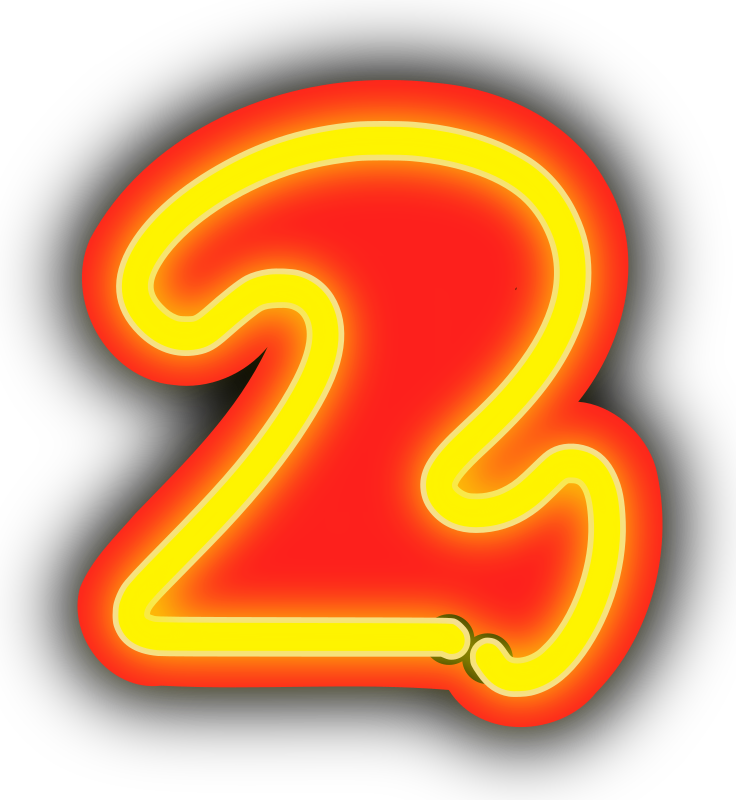 Neon Numerals-2 by rwwgub - Neon outline numerals and outlined backgrounds for strings of 1-5 numerals