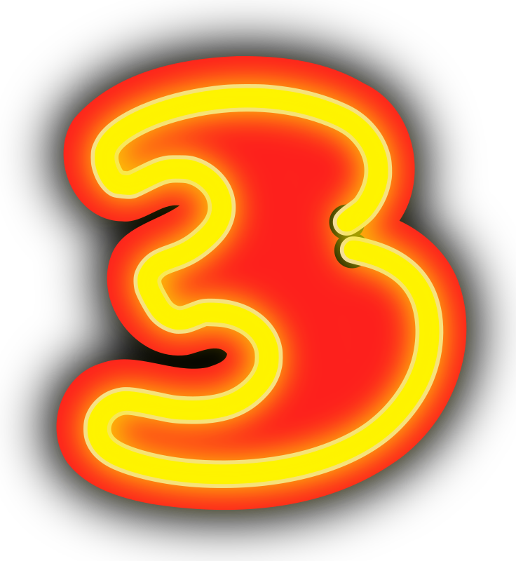 Neon Numerals-3 by rwwgub - Neon outline numerals and outlined backgrounds for strings of 1-5 numerals
