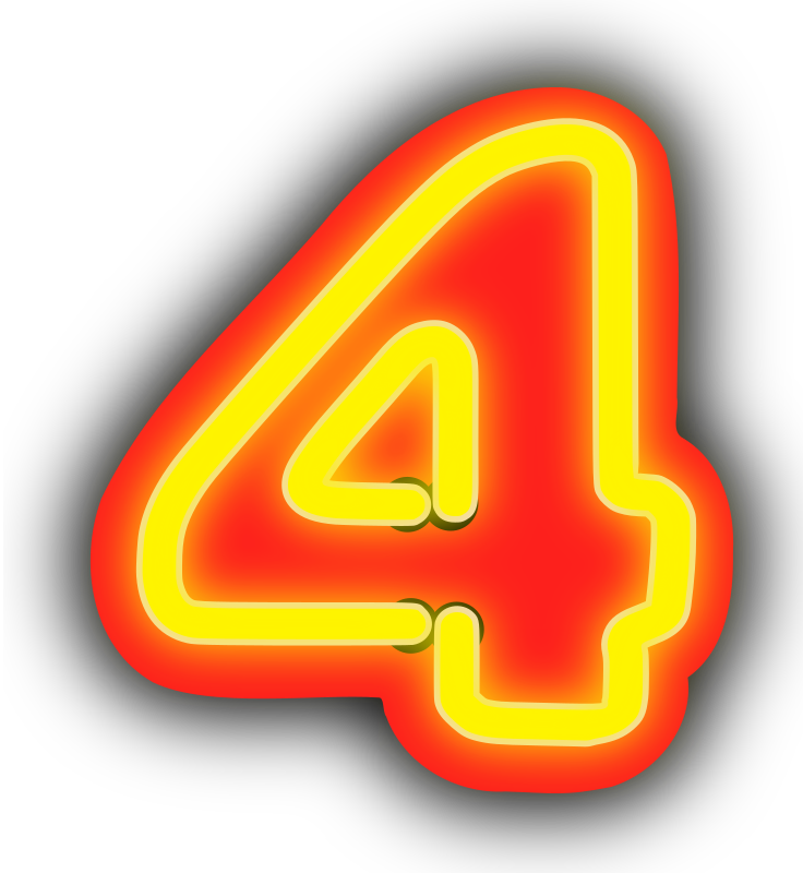 Neon Numerals-4 by rwwgub - Neon outline numerals and outlined backgrounds for strings of 1-5 numerals