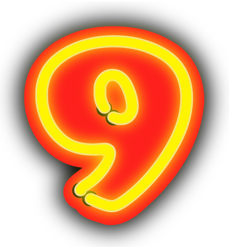 Neon Numerals-9 by rwwgub - Neon outline numerals and outlined backgrounds for strings of 1-5 numerals