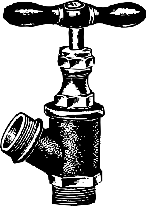 "faucet by johnny_automatic - black and white drawing of a water faucet scanned and vectorized from the book ""Scan this Book"", which clearly states that all content is in the PD only collection and layout are copyright."