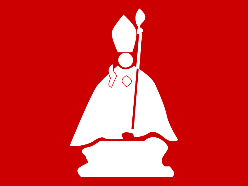 sanfermin by aitor_avila - A red and white silhouette of a religious figure.