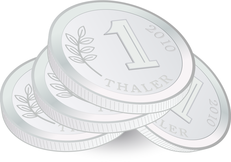 Pile of Coins by J_Alves - A small pile of hypothetical silver coins, drawn in Inkscape.