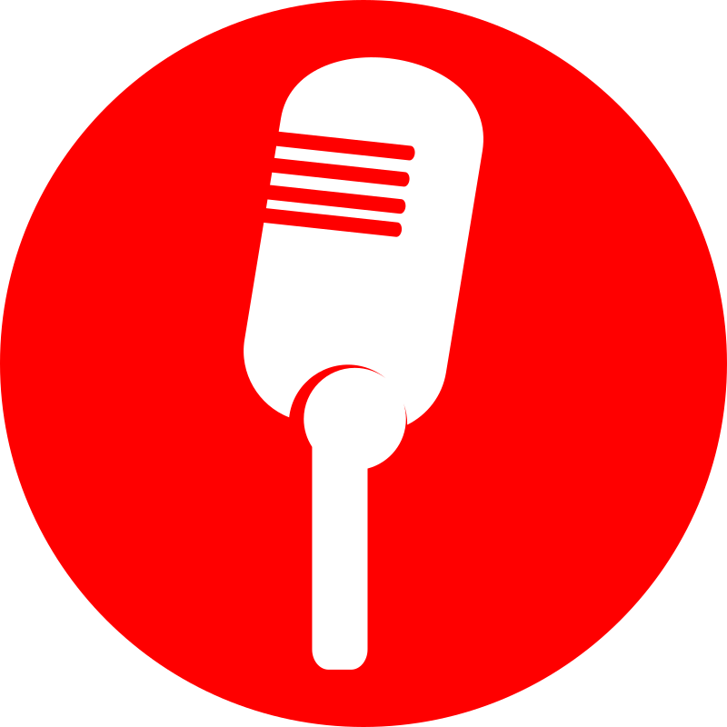 icon microphone by JPortugall - simple red circular icon with white simplified microphone