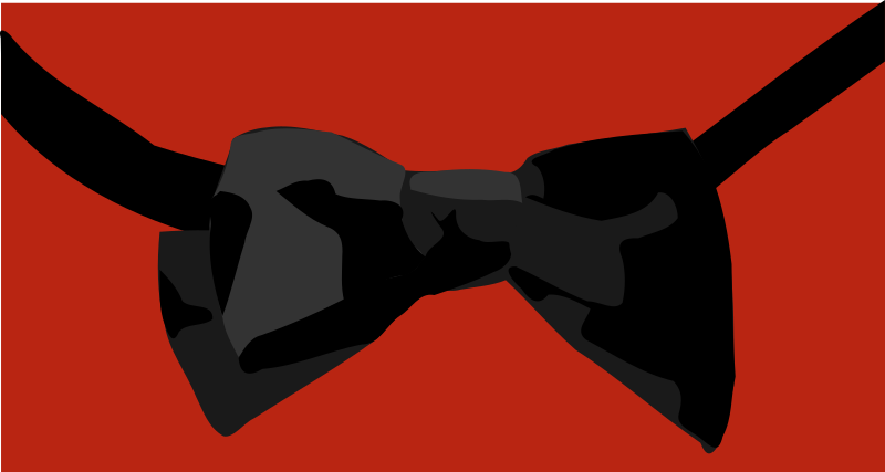 Bow tie by gingercoons - A black bow tie on a red background.
