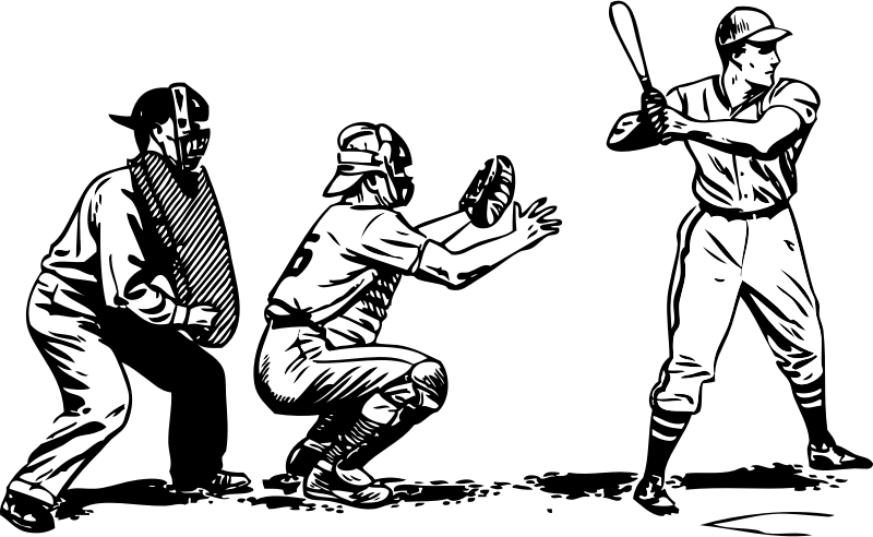 baseball at bat by johnny_automatic - a baseball player taking an at bat with catcher and umpire behind him.