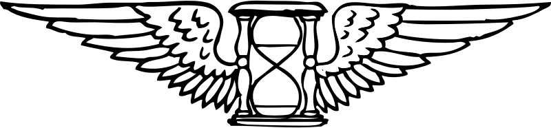time flies by johnny_automatic - an hourglass with wings from a pre-1920s program from the Library of Congress