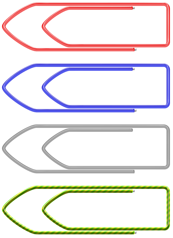 paper clip by flomar - paper clips in 4 different colours. a metal one and three colored plastic clips.