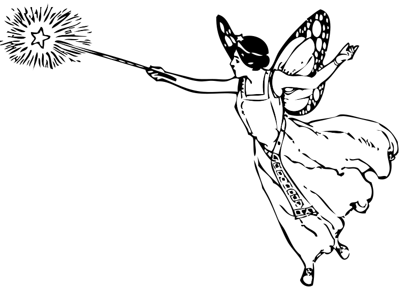 Fairy With Wand by FunDraw_dot_com - Classic line art drawing of a winged fairy with a magic wand.