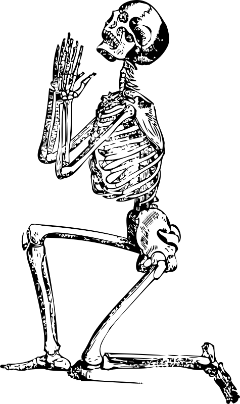 Praying Skeleton by FunDraw_dot_com - Classic illustration of a skeleton, kneeling and praying