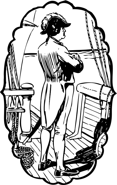 Naval Captain by johnny_automatic - a drawing of a British sea captain standing on the deck of his ship looking out to sea from a brochure for a production of HMS Pinafore. From the Library of Congress.