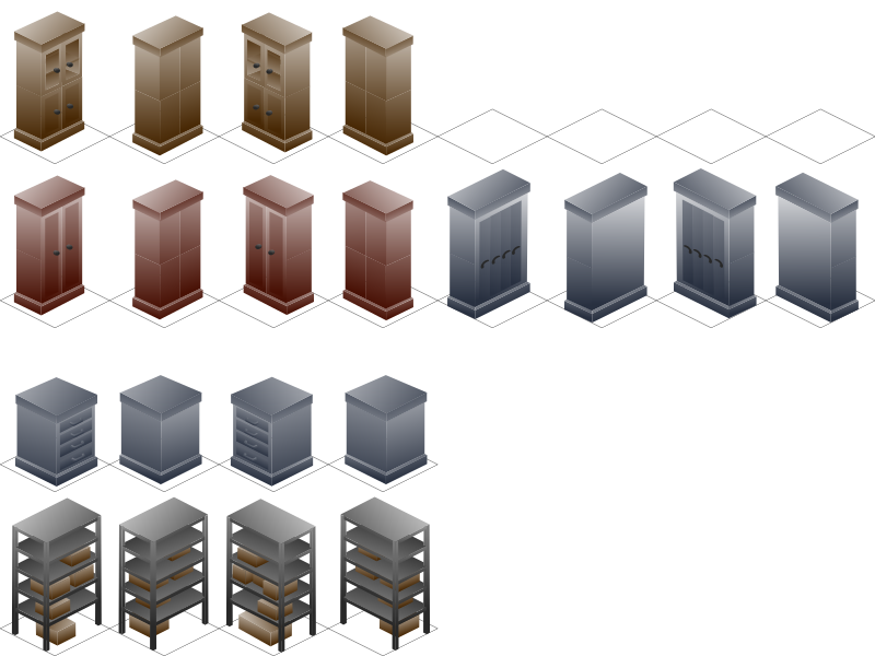 Isometric Cabinet by edykajang - Severals sets of cabinets drawn in isometric view.