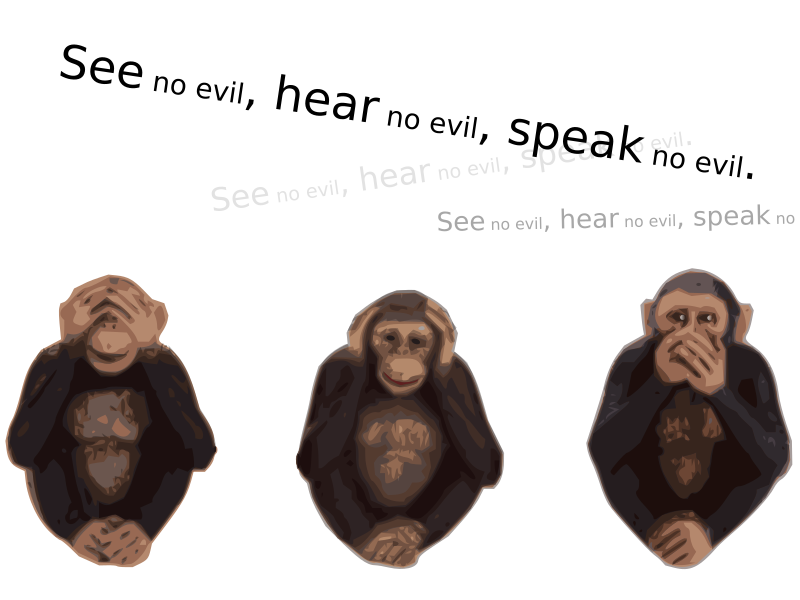 See no evil hear no evil speak no evil  by moonhan - See no evil, hear no evil, speak no evil. chimpanzee version