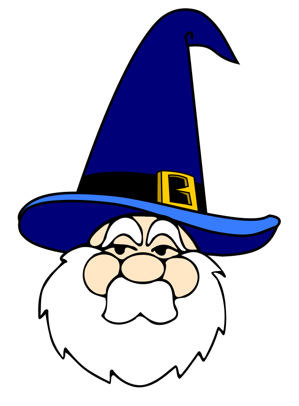 Wizard in blue hat by papapishu