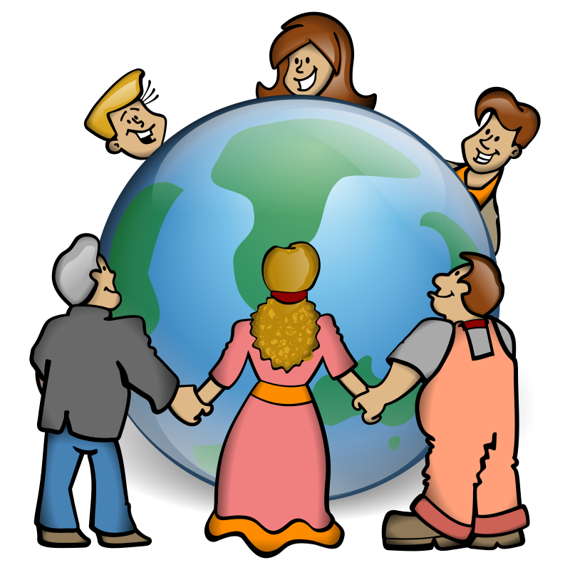 Embrace the World by jonata - People holding hand around earth as a solidarity gesture.