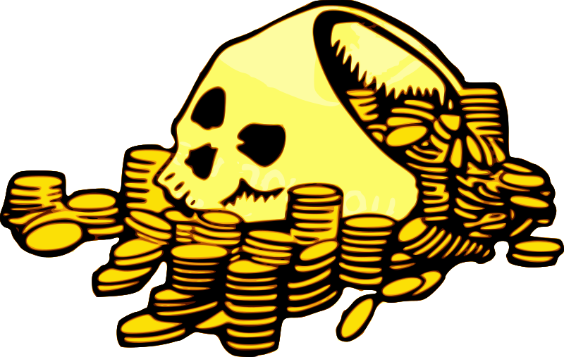 Skull & Money by j4p4n - This picture is quite symbolic. All the money in the world won't keep you alive forever. Or something like that. Gold coins piled around a human skull. Not sure where the top of the skull went, suppose it was cut off to make a skeleton-hat or something.