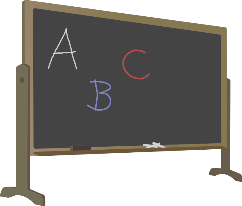 Blackboard with Stand and Letters by J_Alves - A blackboard with stand, chalk, eraser and a few letters written, all in slight perspective. Drawn in Inkscape.