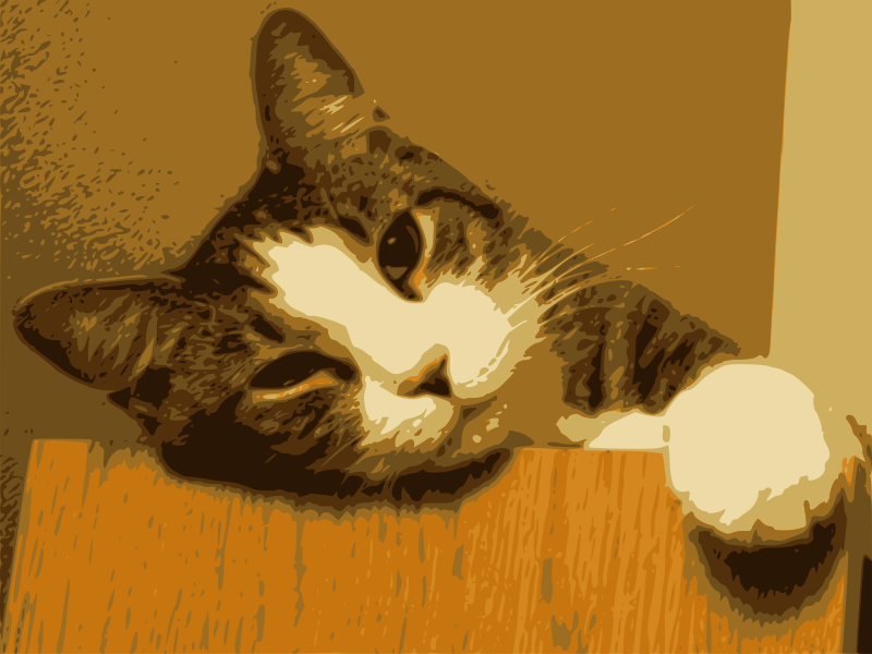Relaxed Cat by J_Alves - A traced image of my cat Gato, done in GIMP and Inkscape.