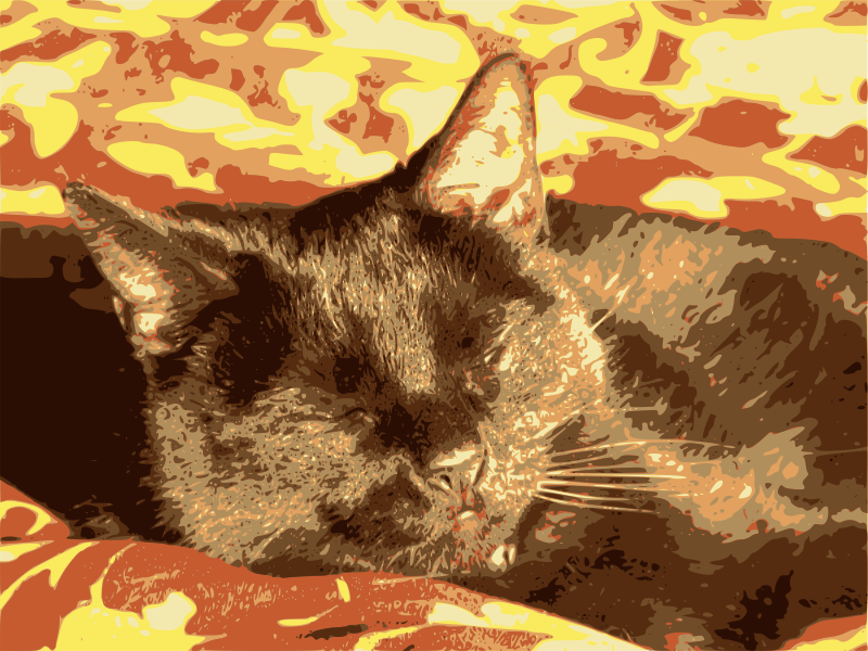 Black cat sleeps by J_Alves - A black cat sleeps. Traced from a photo of mine, in Inkscape.