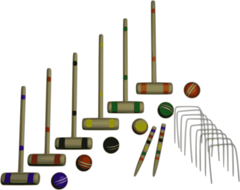 Croquet Set by mazeo - Backyard croquet set with six mallets, six balls, two stakes, and nine wickets.