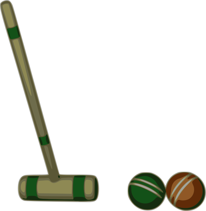 Croquet Stroke by mazeo - Croquet mallet and two balls, preparing for croquet stroke after roquet.