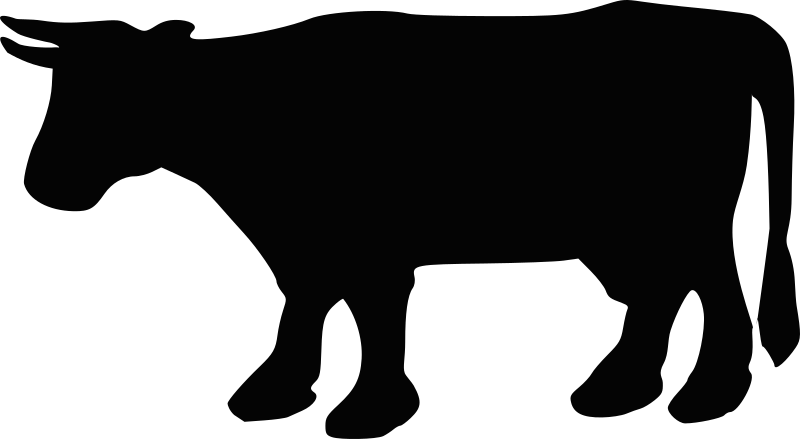 Cow Silhouette 2 by Boort - A silhouette of a cow with horns