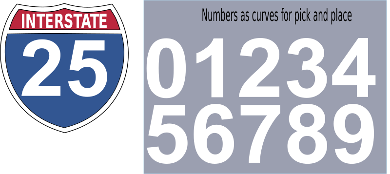 Interstate Highway Sign by Boort - Highway sign for US Interstate Highways. Includes Red / Blue shield with INTERSTATE as included as both a font and as curves.