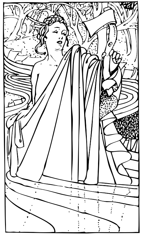 Mercury holding an axe by johnny_automatic - from an illustrated version of Aesop's Fables by Charles Robinson, 1895 London