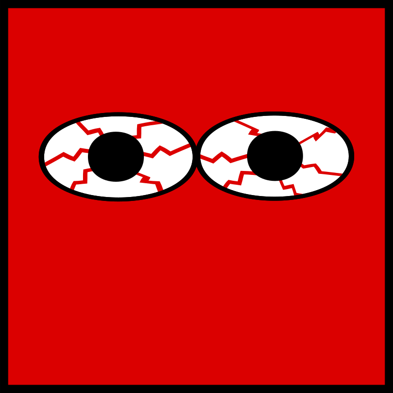 Eyes bloodshot by ted - Eyes bloodshot  red square icon.