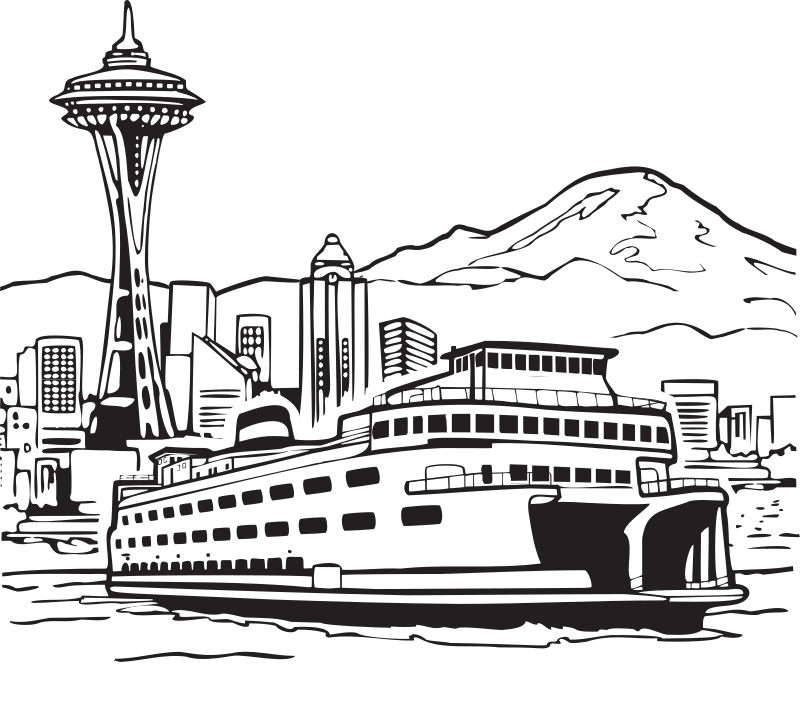 "Space Needle and Ferry by FunDraw_dot_com - Extracted from ""The Washington State Coloring Book"", created by the WA state legislature with taxpayer funds. The coloring book carries no copyright notice, but has the statement ""feel free to make copies of this document"" on the cover."