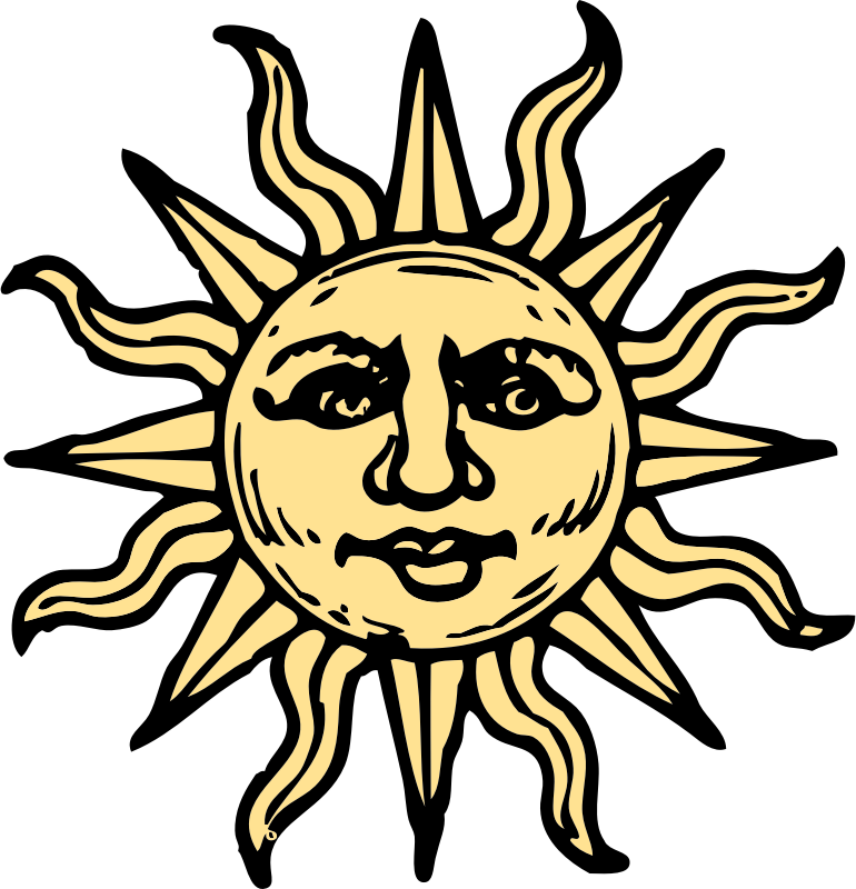 sun woodcut by johnny_automatic - an old woodcut of the sun recolored