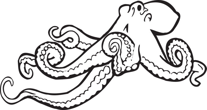 "Coloring Book Octopus by FunDraw_dot_com - Extracted from ""The Washington State Coloring Book"", created by the WA state legislature with taxpayer funds. The coloring book carries no copyright notice, but has the statement ""feel free to make copies of this document"" on the cover."
