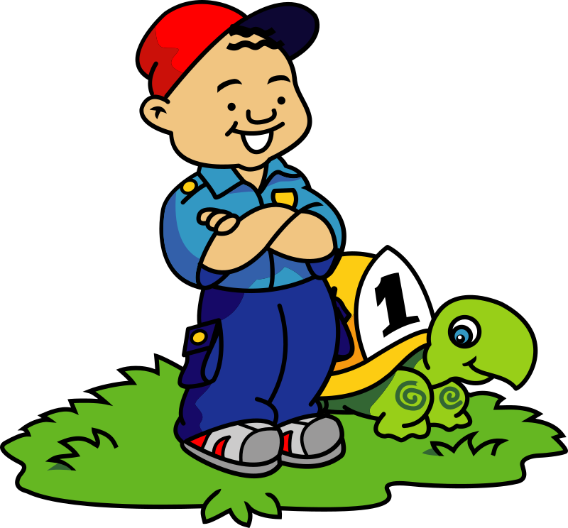 Boy and Turtle by FunDraw_dot_com - Cartoon boy and turtle from USFA (United States Fire Administration - usfa.dhs.gov) fire safety materials for kids.