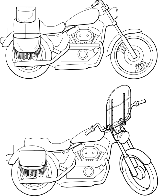 Motorcycle Windshield by JicJac - Technical drawing of a motorcycle.