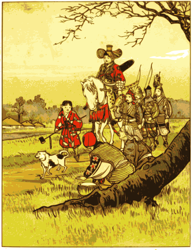 Samurai on a Horse (countryside) by j4p4n - This breathtaking image was synthesized from the old public domain German book Japanische Märchen found on project gutenberg. The image illustrated the story Neid bringt Leid (Envy brings sorrow) .