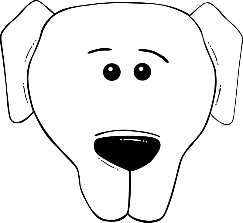 "Dog Face Cartoon - World Label by Gerald_G - Uploaded by ""World Label"" for conversion to SVG and publication on OCAL. - Black and white remix"