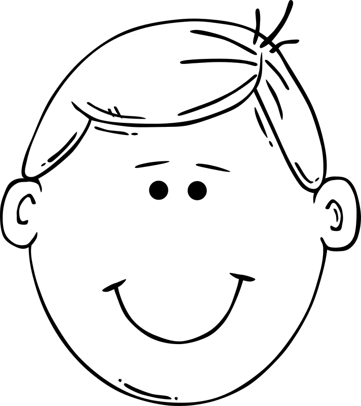 Man Face Cartoon by Gerald_G - Black and white remix.