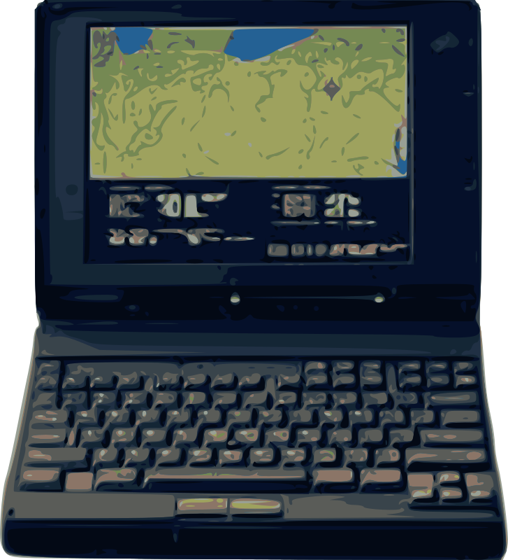 "Old Style Laptop by j4p4n - I saw this ""new"" (or new at the time!) 1994 laptop listed on the NASA website (thus public domain) and I couldn't help my urge to synthesize it as clipart. Old School Laptop is in The House!"