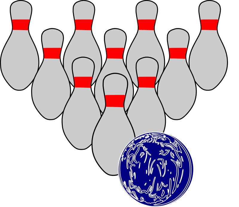 Bowling Duckpins by mazeo - Bowling ball and ten bowling pins used in duckpin bowling.