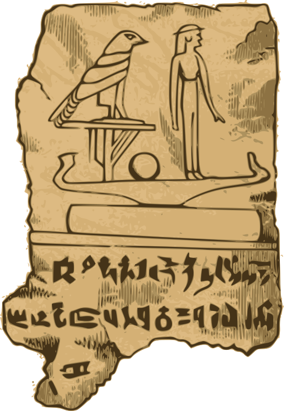 "Egyptian Tablet by j4p4n - OK. OK. I know those aren't real hieroglyphs on this tablet, but thats because this is from a really old poster before linguists could actually read those marks. So I think that is part of the ""fun factor"" of this clip art, the cheesy goodness, if you will accept it. Enjoy!"
