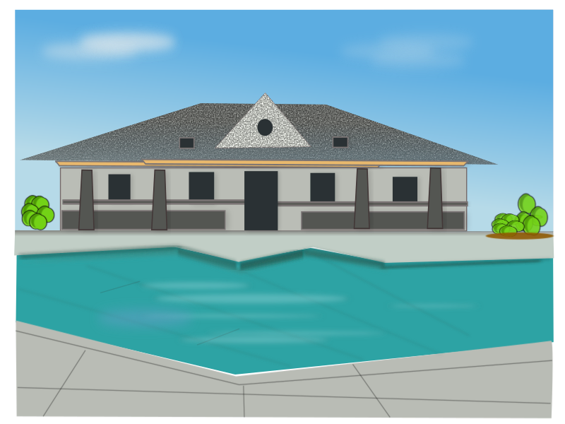 poolside-villa by netalloy - Real estate clipart by NetAlloy in public domain