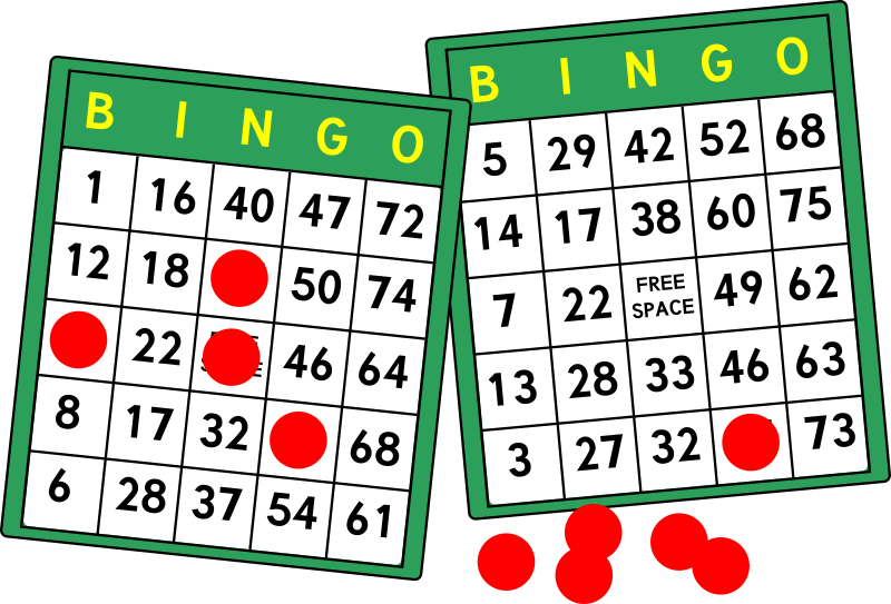 Bingo Cards by mazeo - Two bingo cards and some bingo chips. Typeface is Tuffy (public domain) from openfontlibrary.org