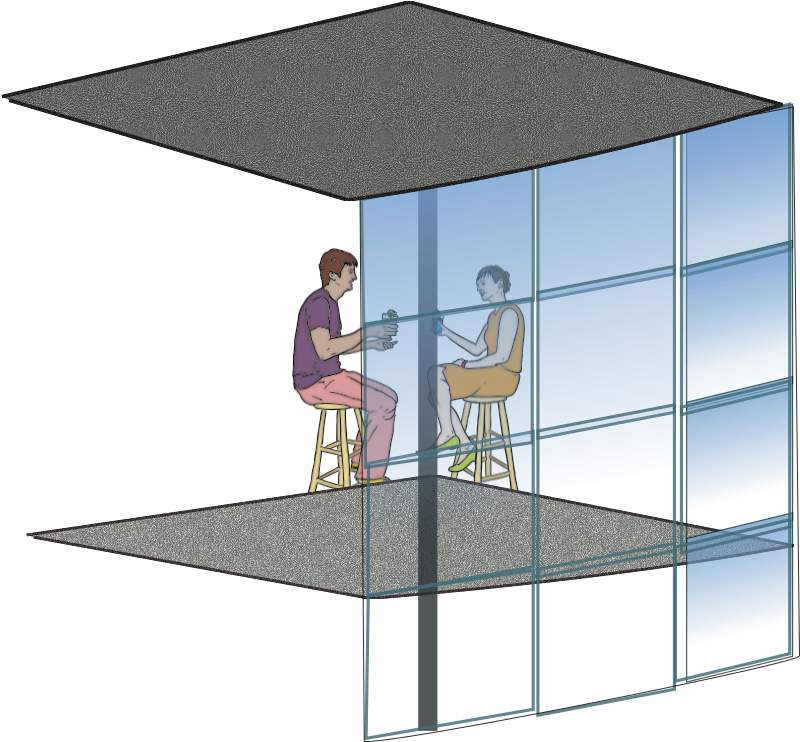 "Curtain Wall by netalloy - Remixed and extended the original creation ""Couple Having Drinks "" by steve lambert. Real estate clip art by netalloy"